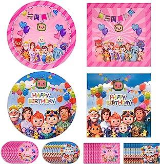 Cocomelon 派对餐盘和餐巾纸,40 件Coco-Melon 主题生日派对用品餐具套装儿童男孩女孩婴儿淋浴装饰,包括 20 个粉色蓝色晚餐纸盘和 20 张拭纸