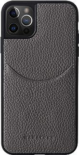 [HANATORA] iPhone12 Pro Max 手機殼 真皮 皺紋牛皮 卡片口袋 耐沖擊 手工制作 禮品 時尚 簡約 成熟可愛 男士 女士 智能手機殼 深* 深* 橄欖灰色 CPG-12ProMax-OliveGray