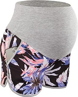 POSHGLAM 女式孕妇短裤腹部夏季休闲锻炼运动短裤带口袋