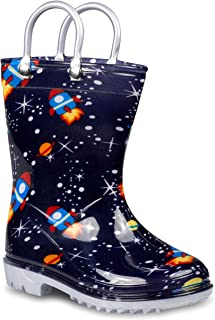 ZOOGS 儿童带手柄雨靴,小童和幼儿,男孩和女孩 Space (Navy) 7 Toddler