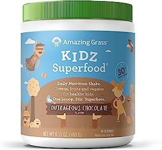 Amazing Grass Kidz Superfood:**、水果、蔬菜和*,适合*儿童,巧克力味,30份