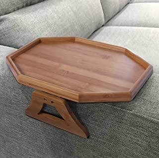 Xchouxer 侧桌天然竹制沙发扶手夹紧式托盘,非常适合远程/饮料/手机