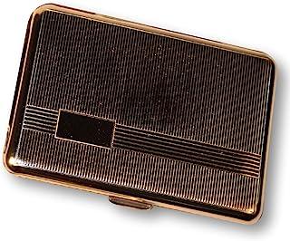 Budd Leather Company 带条纹的镀铬名片盒 银色(A 1843)