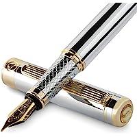 银色镀铬钢笔刻字笔 - 令人惊艳的奢华笔,24K 金饰面,Schmidt 18K 镀金笔尖(中号),男女*佳钢笔礼品套装…