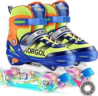 儿童溜冰鞋,4 种尺寸可调节四轮滑冰鞋,适合女孩和男孩,Farexon 儿童户外滑冰,带全亮车轮,适合 6-12 岁儿童
