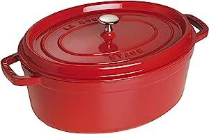 Staub 1103706 Oval Cocotte Pot, 37 cm, Cherry