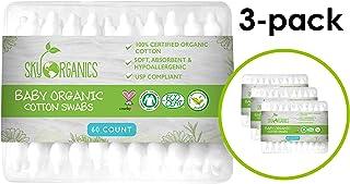 婴儿棉签(3 包共 60 克拉)共 180 颗,*香料和无氯儿童*签,* 可生物降解温和婴儿提巾,无残忍,低*性儿童棉签。