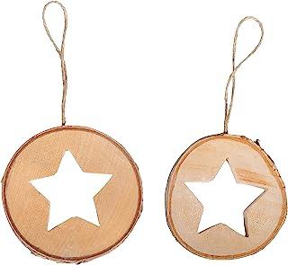 Rayher 46528505 桦木盘,带星星,8厘米,自然色,2件,正常