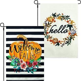 2 件 Welcome Fall 花园旗双面 Hello House 旗帜带南瓜和花朵,12.5 x 18.5 英寸季节性户外花园庭院横幅草坪装饰,适合室外乔迁(可爱风格)
