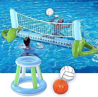 JOYIN 充气泳池浮圈套装排球网和篮球框;包括儿童及成人游泳游戏玩具,漂浮,夏季浮,排球场篮球