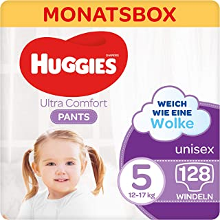 Huggies Ultra Comfort 裤子,尺码 5,12至17 千克,适合活跃儿童,带湿指标和云端袖口技术,128 个尿布,月盒装,大包装