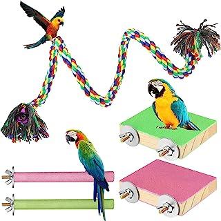 5 件鸟类玩具套装彩色鸟栖息地支架木制鸟平台鸟绳鹦鹉笼栖息地配件鸟锻炼玩具适用于鹦鹉鹦鹉鸟鹦鹉鹦鹉金刚鹦鹉爪磨清洁