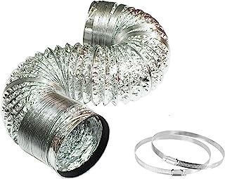 6 英寸(约 15.2 厘米)烘干机排气软管,23 英尺(约 58.9 厘米)长铝管道,用于暖通空调通风,弹性空气管道软管,适用于交流排气、厨房、成长帐篷、*房子,包括 2 个夹子