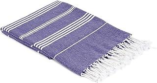Cloev 土耳其风格浴巾 – 大号轻质奢华浴巾,高吸水毛巾,快速易干 – 柔软舒适的浴室和海滩浴巾   尺寸 – 94 x 177.8 厘米   蓝色
