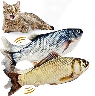 WONDAY 2 件装猫踢鱼玩具互动猫玩具 - 仿真毛绒仿真电动娃娃鱼摆动鱼猫薄荷玩具 - 有趣的宠物咀嚼咬咬嚼用品