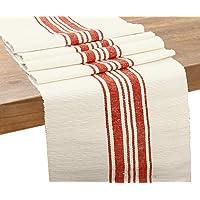 棉桌巾(乡村条纹长条 - 35.56 x 182.86 厘米,红色和奶油色)
