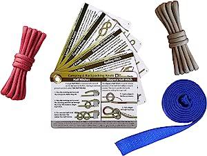 户外打结练习套件 - 打结卡片、织带和颜色编码的绳带