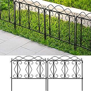 Amagabeli 装饰花园围栏 60.96 厘米高 x 60.96 厘米宽,5 片全户外黑色加厚金属线栅栏防锈景观露台花床动物狗屏障边缘分区