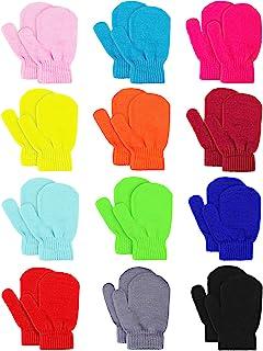 Sumind 12 双儿童针织手套冬季保暖弹力手套婴儿连指手套,适合男孩女孩