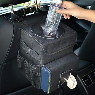 MYBESTFURN 可折叠汽车垃圾袋,汽车垃圾桶带盖子,可拆卸防漏内饰,可调节纸巾。