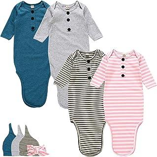 新生儿婴儿打结睡袍,超柔软棉质婴儿长袖睡衣,适合女宝宝和男孩睡袋,带帽子