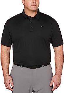 Callaway 大号/长款微型六角纯色短袖高尔夫 Polo 衫