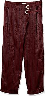 J.O.A. 女式短款高腰长裤,带金属扣眼细节