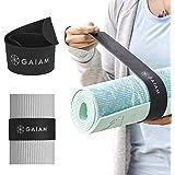 """Gaiam 瑜伽垫带搭扣带 - 使您的垫子紧滚动和*,适合大多数尺寸垫子(20"""" 长 x 1.5"""" 宽),黑色"""