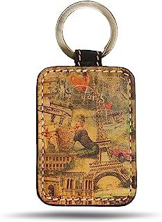 皮革钥匙扣 - 不锈钢仿古镍钥匙圈收纳包 男女适用 - 耐用设计和图案