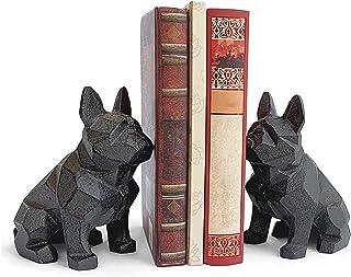 Ambipolar 装饰狗狗主题几何书本,重型铸铁,狗雕像,复古架子装饰,复古黑色(2 件装),T5-8