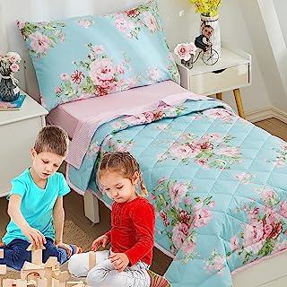 Brandream 怀旧花卉幼儿床上用品套装,女童棉粉色网格床单套装,4 件