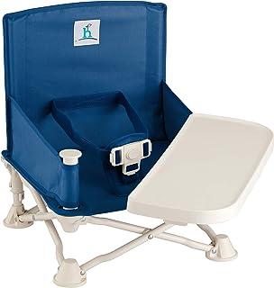 hiccapop Omniboost 婴儿旅行增高座椅 — 折叠便携式高椅,适用于餐饮、露营、海滩、草坪、奶奶 — 无尖头设计挂带到厨房椅子或随处坐 午夜蓝