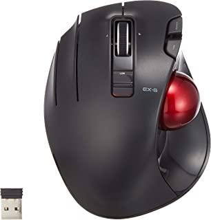 ELECOM 左手无线拇指操作轨迹球鼠标,6 键功能,带平滑跟踪,精密光学游戏传感器(M-XT4DRBK-G)