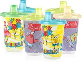 Nuby 6 只装水洗或投掷可重复使用的杯子和盖子,带喷嘴,Nickelodeon 海绵宝宝方形裤,10 盎司