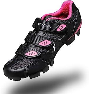 CyclingDeal 山地自行车女式 MTB 骑行鞋,黑色 与 Shimano SPD 和 CrankBrothers 防滑鞋兼容 | 可拆卸脚趾鞋钉