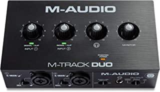 M-Audio M-Track - USB 音频接口,用于录音、流媒体和播客,双 XLR,线路和 DI 输入,包括软件包