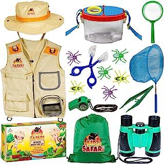 OzBSP 儿童户外探险套装。 儿童探险套装。 自然探索玩具,男孩女孩。 捕虫套装。 Safari 背心和帽子服装,双筒望远镜,镊子,放大镜,蝴蝶网,指南针