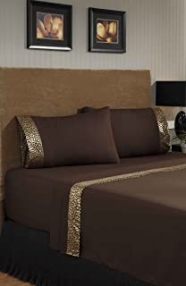 Divatex 75 GSM 金属印花闪亮超细纤维豹纹床单套装,棕色/金色