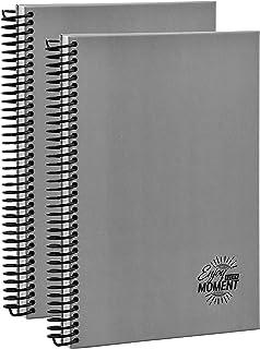 Mikro 螺旋网格笔记本 - 精装日记图网格 - 1 个主题四个网格螺旋笔记本 - 15.24 x 24.96 厘米图形纸笔记本和大学笔记记录 | 2 包(120 张)