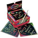Melissa & Doug 美国玛莉莎 彩虹色迷你笔记刮擦艺术盒 艺术&工艺 木制尖笔 125件 约 9.53cm高…