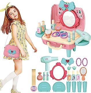 Hotiego 24 件儿童假扮游戏女孩梳妆套装化妆套装*沙龙造型玩具装扮梳妆台带化妆品Caes手链化妆配件吹风机儿童幼儿女孩
