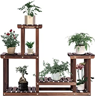 VIVOSUN 4 层木质植物架高低架子花架展示室内室外花园草坪露台浴室办公室客厅阳台