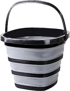 PEARL METAL 珍珠金属 折叠式 水桶 10升 方形 小巧 收纳 黑色 AZ-5501 宽30.5×深31×高24厘米