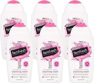 Femfresh Ultimate Care 舒缓沐浴露,pH 平衡女性沐浴液,含保湿蔓越莓和矢车菊提取物,带持久的MULTIActif复合物的护洁露,6 x 250毫升