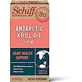 Schiff Omega-3 南极磷虾油软胶囊,500mg(每瓶40粒),含有Omega-3的磷虾油补充剂,无麸质,无乳…