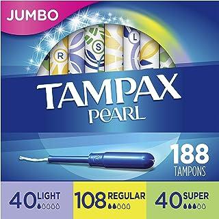 Tampax Pearl 塑料卫生棉条,轻度/常规/超吸收性复合包装,188个,无气味(47个,4个包装-共188个)-包装可能有所不同