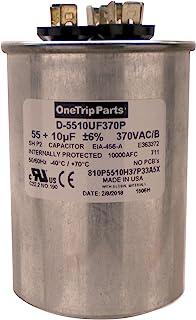 OneTrip Parts USA Run 电容器 55+10 UF 55/10 MFD 370 VAC 2-1/2 英寸圆形