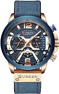 男式运动计时石英手表棕色皮革表带 30 米防水*男士腕表