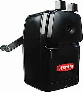 Derwent 2302001手动螺旋台式转笔刀,超尖,滑动托盘储物器和办公桌夹,专业品质,黑色