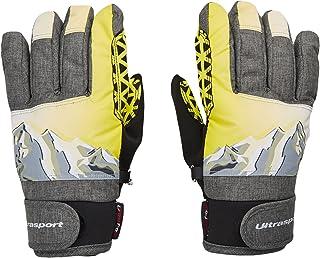Ultrasport 高级滑雪儿童手套 Rocky 灵活手指手套,活动自如,防水,防风,适合 6-14 岁,紧身袖口,反光印花